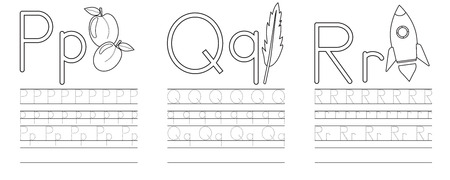 Writing practice of letters P,Q,R. Coloring book. Education for children. Vector illustration Ilustração