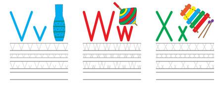 Writing practice of letters V,W,X. Education for children. Vector illustration
