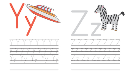 Writing practice of letters Y,Z. Education for children. Vector illustration Stock Illustratie