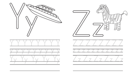 Writing practice of letters Y,Z. Coloring book. Education for children. Vector illustration Stock Illustratie