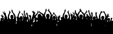 Cheer audience applause. Crowd of people applauding vector silhouette Illustration