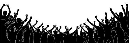 Cheerful people crowd applauding, silhouette. Party, applause. Fans dance concert, disco. Isolated group of people separated from each other