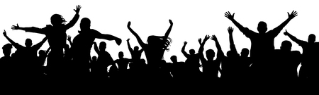Cheerful people having fun celebrating. Crowd of fun people on concert, party, holiday. Applause people hands up. Cheer audience. Silhouette Vector Illustration Stock Illustratie