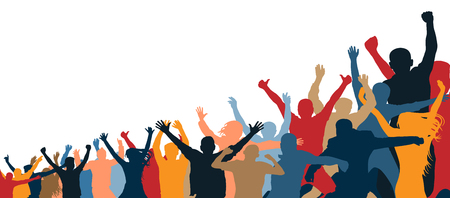 Crowd of cheerful people. Isolated, separate from each other. Hands up. Group of people. Increasing, inclined, under the slope