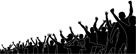 Crowd of sports fans.Crowd of people in the stadium. Cheerful audience. Concert party. Silhouette vector
