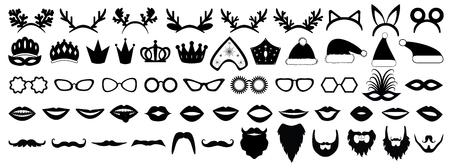Photo booth props. New year (Christmas) party set. Glasses, hats, lips, beard, antler, kokoshnik, crown, mask. Vector illustration. Illustration