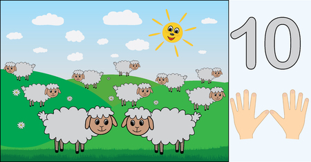 Sheep. Number 10 (ten). Learning counting, mathematics. Education for kids. Vector illustration.