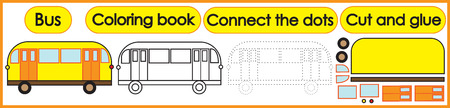 Games for children 3 in 1. Coloring book, connect the dots, cut and glue. Bus cartoon. Vector illustration.
