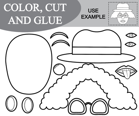 Color, cut and glue the image of clown. Paper game for kids. Vector illustration
