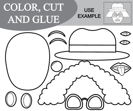 Färben, schneiden und kleben Sie das Bild des Clowns. Papierspiel für Kinder. Vektor-Illustration