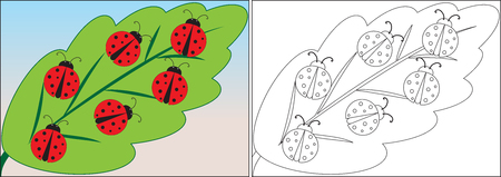 Coloring book for children. Ladybugs cartoon on leaf. Vector illustration. Ilustração