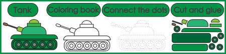 Games for children 3 in 1. Coloring book, connect the dots, cut and glue. Tank cartoon. Vector illustration.