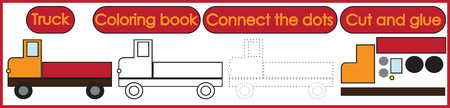 Games for children 3 in 1. Coloring book, connect the dots, cut and glue. Truck cartoon. Vector illustration.