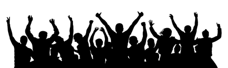 Cheer crowd people, thumb up. Silhouette party celebrating. Applause people hands up. Stand alone, separate  group of people. Vector Illustration Stock Illustratie