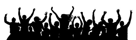 Cheerful crowd people. Stand alone, separate  group of people. Silhouette party celebrating. Applause people hands up. Vector Illustration