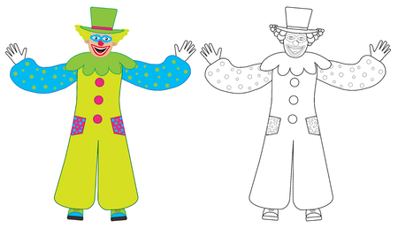Cheerful clown welcomes, colorful and coloring book. Vector illustration Ilustração