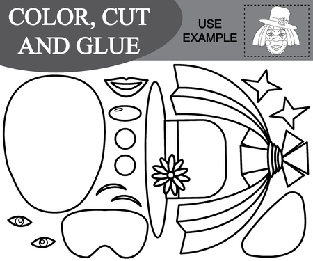 Color, cut and glue the image of girl clown. Paper game for kids. Vector illustration Illustration