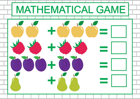 Mathematical task for children (counting, addition), education. Vector illustration Ilustrace