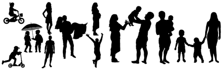 Lifetime of man and woman with childhood to adult (family life) silhouette, vector illustration.Childhood, appointment, then wedding day,  then pregnancy, then children and happy large family 向量圖像