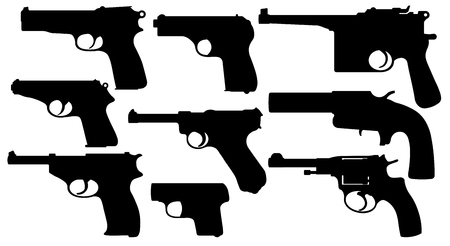 Vintage pistols. Collection of gun. Weapons of the Second World War. Set of Silhouette Vector