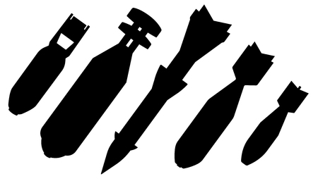 Aerial bomb, set vector silhouette. Air aviation aircraft bomb, ballistic missile, nuclear weapon