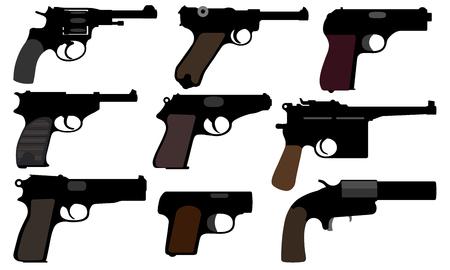 Collection d'armes à feu. Pistolets d'époque. Ensemble d'illustration vectorielle. Armes de la Seconde Guerre mondiale