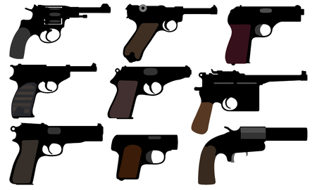 Collection of gun. Vintage pistols. Set of vector illustration. Weapons of the Second World War