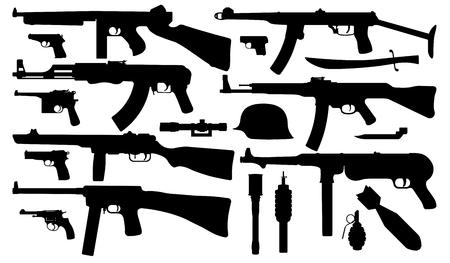 Armes militaires, vecteur de silhouette de mitraillette