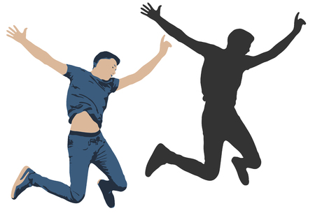 Illustration vectorielle d'un homme sautant. Silhouette d'ombre des gens sautent Vecteurs