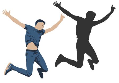 Vector illustration of a jumping man. Shadow silhouette of people jump Vektoros illusztráció