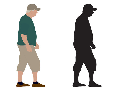 Walking old man and silhouette, vector illustration, isolated on white background.