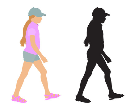 Walking girl (teenager) in summer clothes and silhouette, vector illustration, isolated on white background.