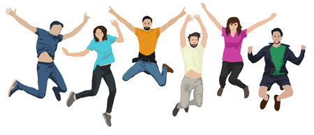 Group of people in a jump. Cheerful youth in the air on trampolines. Friends are jumping. Happy young people. Vector illustration Vetores