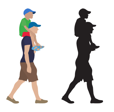 Moving man with child sitting on his shoulders and their silhouette. Vector illustration Stock Illustratie