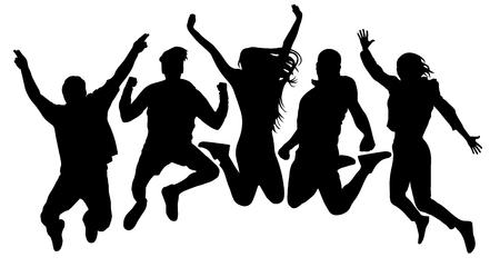 Menschen springen Vektorsilhouette. Springende Freunde Jugendhintergrund. Menschenmenge, dicht beieinander. Fröhlicher Mann und Frau isoliert