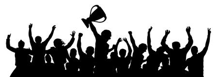 Sports Cup menigte van fans. Vector silhouet
