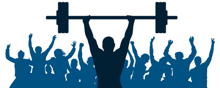 Weightlifter sport silhouette. Crowd of fans joy of victory. Weightlifting strongman. Vector illustration