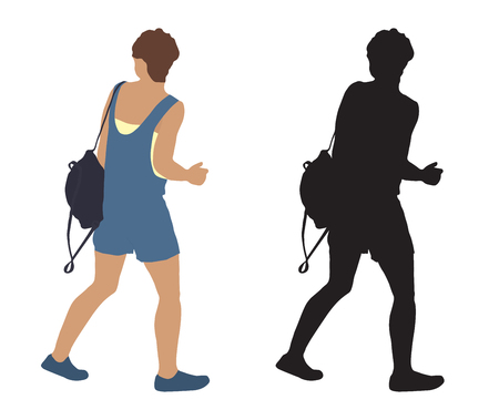 Woman on moving with backpack and silhouette, vector illustration, isolated on white background.