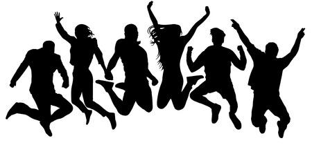 Skoki tło młodzieży znajomych. Ludzie skaczą sylwetka wektor. Wesoły mężczyzna i kobieta na białym tle. Ludzie skaczący przez tłum, blisko siebie Ilustracje wektorowe