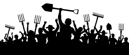 Angry peasants protest demonstration. A crowd of people with a pitchfork shovel rake. Riot workers vector silhouette Ilustração