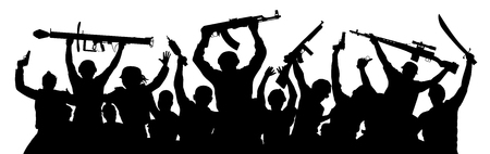 Armed terrorists. Crowd of military people with weapons. Shooting game airsoft paintball. Military silhouette of soldiers. Army team co workers. Vector illustration Illustration
