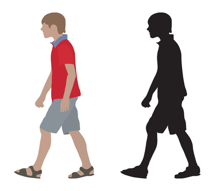 Teenager on moving (side view) and silhouette. Isolated. Vector illustration.
