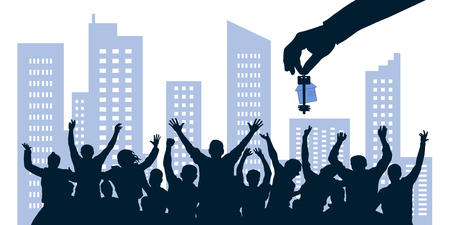 Cheerful crowd of people gets the keys to the house. Apartments from the property developer. Hand is holding keys on the background of the city. Vector illustration silhouette