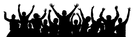 Crowd of fun people. A young group of people raised their hands up. Silhouette of vecton illustration Ilustração