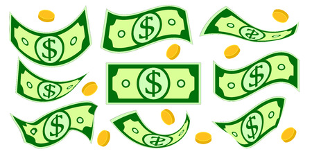 Dollar cash. Falling money isolated set. Crumpled money and coins. Vector illustration