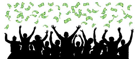 L'argent tombe sur les gens de la foule. Les gens joyeux sont une chance heureuse. Illustration vectorielle de dollar pluie. Atteindre une équipe de personnes