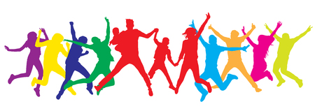 Jumping people, family in center, silhouette colorful. Vector illustration