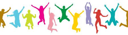 Modèle sans couture de personnes sautant (foule), silhouette colorée. Illustration vectorielle.