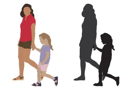Mujer con niño pasa por las manos y su silueta. Ilustración vectorial