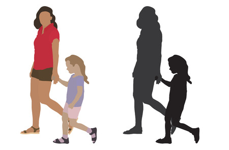 Woman with child go by the hands and their silhouette. Vector illustration Illustration